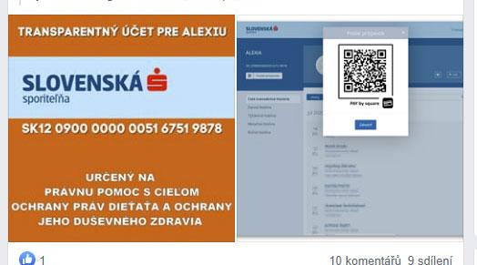 Transparentní účet pro Alexii